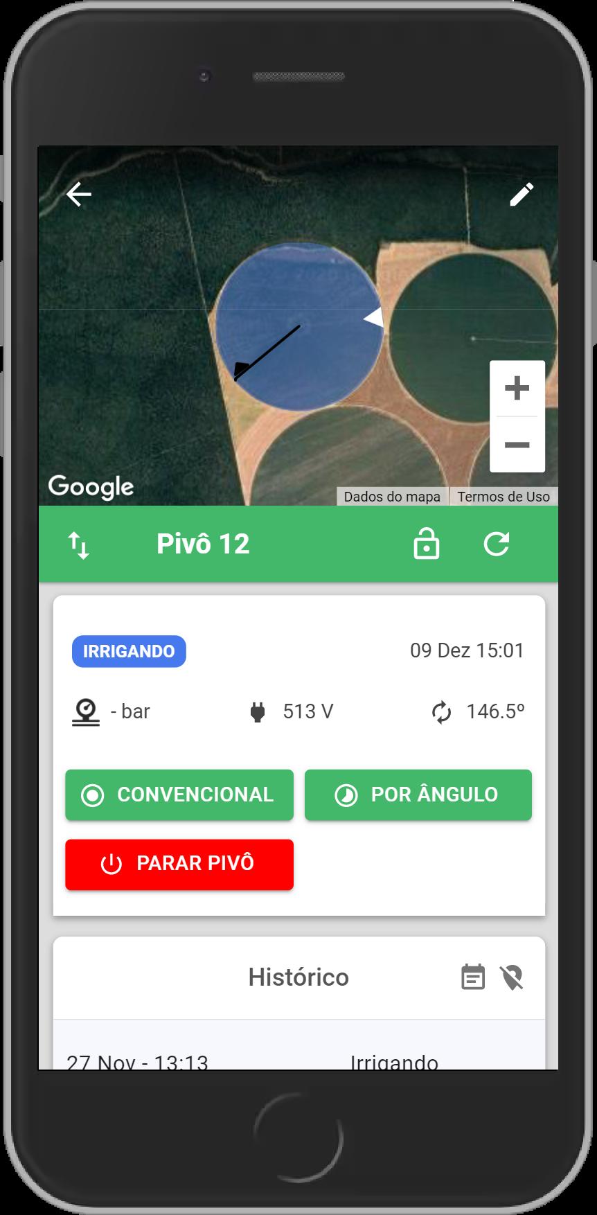 Tela de um smartphone exibindo a página de ativação remota do pivô.