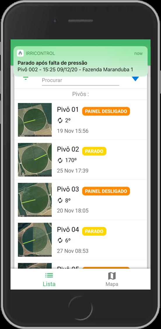 Tela de um smartphone exibindo um exemplo de alerta do aplicativo.
