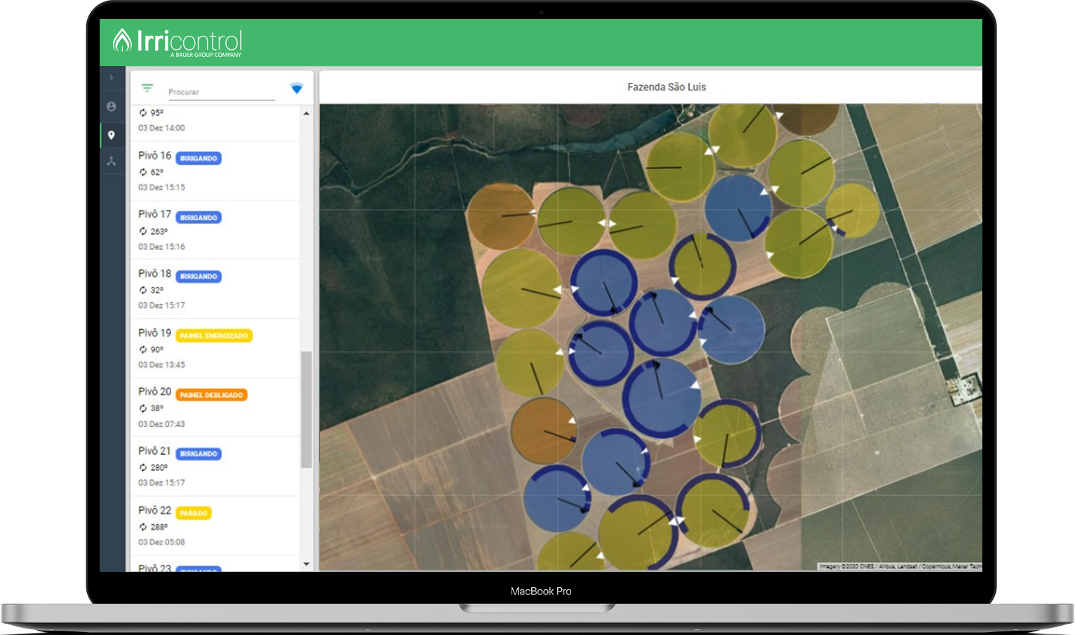 Visão geral dos pivôs automatizados da fazenda através da plataforma na tela de um notebook.